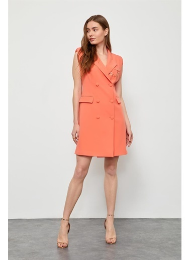 Setre Oranj Zincir Detaylı Ceket Elbise Oranj